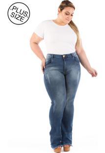Calça Jeans Flare Barra Desfiada Plus Size - Tricae