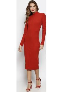Vestido MãDi Canelado Com Recortes - Vermelho Escuroforum