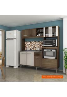 Cozinha Compacta Helena 8 Pt 1 Gv Castanho E Off White