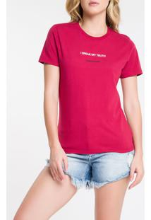 Blusa Mc Slim Frase Meia Reat Gc I Speak - Cereja - Pp