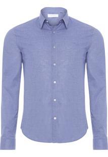 Camisa Masculina Regular Xadrez Maquinetado - Azul