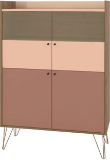 Cristaleira Style 4 Portas E Pés De Ferro Bronze Buriti/Ceramic/Millenium D'Rossi Rosa