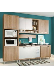 Cozinha Compacta Sem Tampo 6 Peças 5814-S8 Sicília - Multimóveis - Argila Acetinado / Branco Acetinado