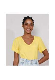 Blusa Feminina Manga Bufante Decote V Amarela