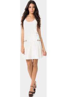 Vestido Com Alças E Búzios Branco Off White - Lez A Lez