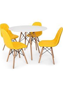 Conjunto Mesa Eiffel Branca 90Cm + 4 Cadeiras Dkr Charles Eames Wood Estofada Botonê Amarela