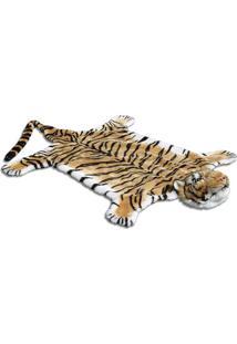 Tapete Tigre- Marrom Claro & Preto- 116X215Cm- Bbtc Decor