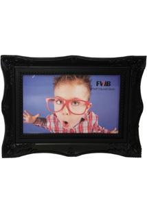 Porta Retrato Retrô De Plástico Preto 10 X 15 Cm 99574