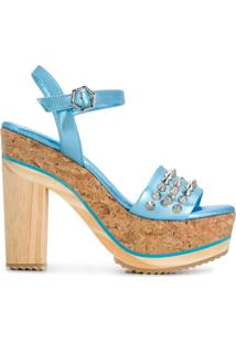 Philipp Plein Sandália Plataforma Com Tachas E Spikes - Azul