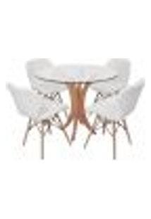 Conjunto Mesa De Jantar Tampo De Vidro 90Cm Com 4 Cadeiras Slim - Branco
