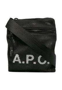 A.P.C. Bolsa Tiracolo Com Estampa De Logo - Preto