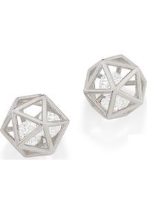 Brinco Bijoulux Em Rhodium Geométrico Com Zircônias Rommanel - Tricae