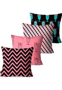 Kit Com 4 Capas Para Almofadas Pump Up Decorativas Rosa Sundae 45X45Cm