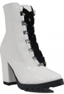 Bota Zariff Shoes Ankle Boot Salto Branco