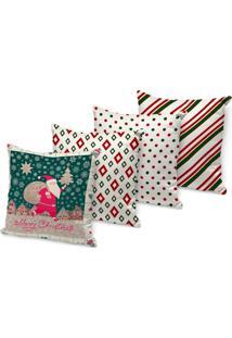 Kit 4 Capas Para Almofada Love Decors Decorativas Merry Christmas
