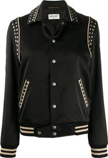 Saint Laurent Star-Print Bomber Jacket - Preto