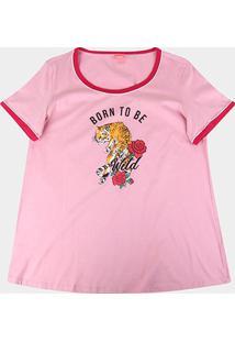 Blusa Wee! Plus Size Básica Born To Be Wild Feminina - Feminino-Rosa Escuro