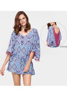 Vestido 284 Renda Costas Amarração - Feminino-Rosa+Azul