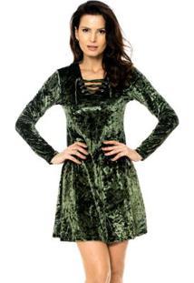 6cdeb9cc4a ... Vestido Bisô Ilhós Veludo Feminino - Feminino-Verde
