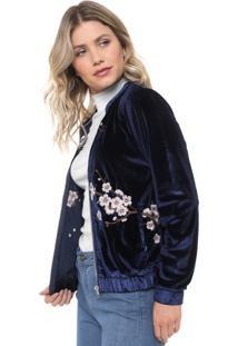 Jaqueta Bomber Lily Fashion Veludo Bordada Azul-Marinho