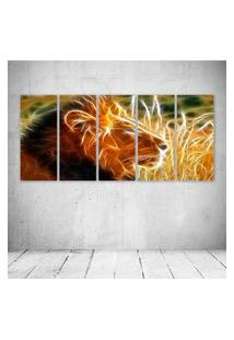 Quadro Decorativo - King Lion Neon - Composto De 5 Quadros