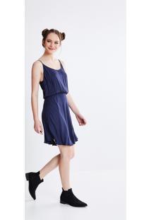 Vestido Com Saia Sobreposta Azul Marinho