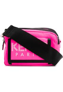 Kenzo Double Compartment Logo Print Messenger Bag - Rosa