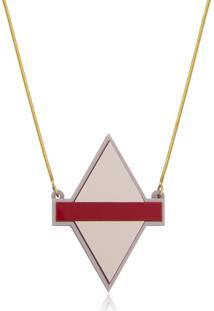 Colar Le Diamond Losango De Acrílico Rosa Velho - Kanui