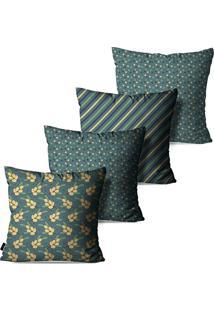Kit Com 4 Capas Para Almofadas Pump Up Decorativas Verde Flores Abstrato 45X45Cm