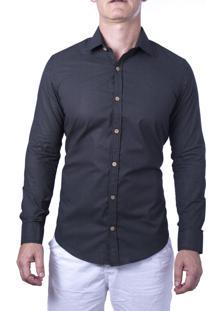 Camisa Alfaiataria Burguesia Em Poá Preto Com Botões Em Coco