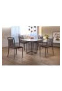 Conjunto De Mesa De Jantar Hera Com Tampo De Vidro Mocaccino E 4 Cadeiras Grécia Ii Couríssimo Marrom E Grafite