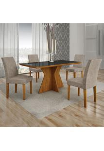Conjunto De Mesa De Jantar Creta Ii Com 4 Cadeiras Olímpia Suede Preto E Marrom