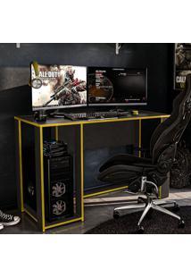 Mesa Gamer Singapura Ideal Para 2 Monitores Preto/Amarelo - Politorno