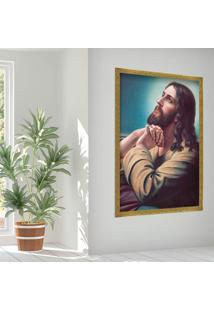 Quadro Love Decor Com Moldura Sagrado Jesus Dourado Grande