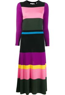 Chinti And Parker Vestido Color Block - Roxo