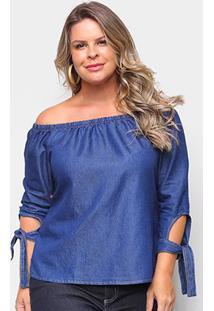 Blusa Cambos Bata Plus Size Ombro A Ombro Com Amarração No Braço Feminina - Feminino-Azul