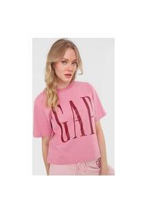Camiseta Gap Logo Rosa