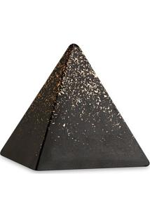 Escultura Decorativa- Preta & Dourada- 13,5X13,5X13,Mart