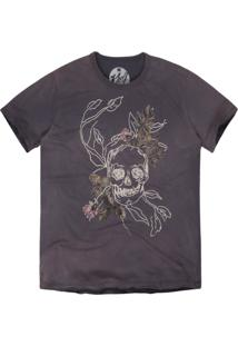 Camiseta Khelf Estampa Caveira Floral Chumbo