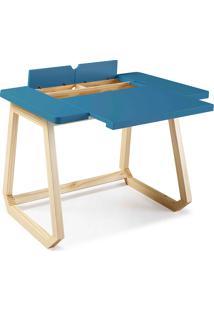 Mesa Para Computador De Madeira Maciça Hush 94X77,5X73,5Cm - Taeda E Cor Azul Escuro