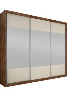 Guarda-Roupa Casal Com Espelho 3 Portas Horizon- Novo Horizonte - Canela / Off White