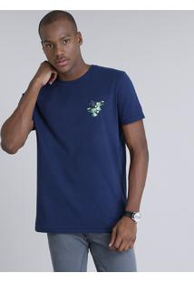 Camiseta Masculina Com Estampa De Folhagem Manga Curta Gola Careca Azul Marinho