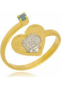 Anel Coração Regulável Folheado A Ouro 18K - Kanui