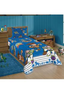 Edredom Dupla Face Solteiro Lepper Toy Story 150X220Cm Azul