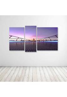 Quadro Decorativo - Millennium Bridge London United Kingdom - Composto De 5 Quadros - Multicolorido - Dafiti