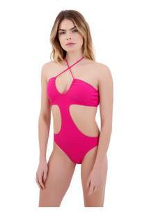 Body Rosa Chá Capri Canelado Pink Beachwear Rosa Feminino Body Capri Canelado Pink-Pink Gio-Pp