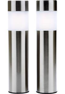Luminária Solar Inox Kit Com 2 Peças
