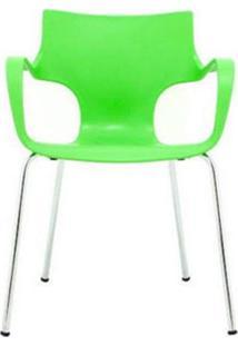 Cadeira Jim Base Fixa Cromada Cor Verde