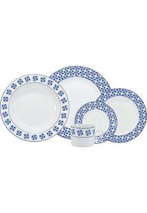 Aparelho De Jantar Athena 20 Peças - Schmidt - Branco / Azul