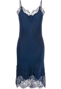 Gold Hawk Lace Slip Dress - Azul